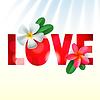 Liebes-Karte mit Frangipani-Blüten | Stock Vektrografik