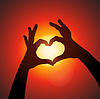 Liebesform Hände Silhouette im Himmel | Stock Vektrografik