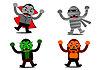 할로윈 몬스터 만화 캐릭터 | Stock Vector Graphics