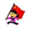 Cartoon Frau bringen flag