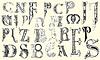 Verschiedene mittelalterliche Großbuchstaben