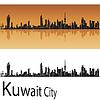 Kuwait-Stadt-Skyline im orangefarbenen Hintergrund