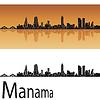 Manama Skyline in orangefarbenen Hintergrund