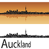 Skyline von Auckland in orange Hintergrund | Stock Vektrografik