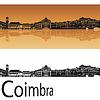 Coimbra Skyline in orangefarbenen Hintergrund | Stock Vektrografik