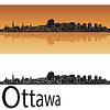 Ottawa Skyline in orangefarbenen Hintergrund