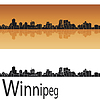 Winnipeg Skyline in orangefarbenen Hintergrund