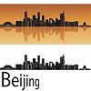 Peking Skyline in orangefarbenen Hintergrund