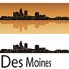 Des Moines skyline in orange background | Stock Vector Graphics
