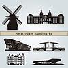 Amsterdam Sehenswürdigkeiten und Denkmäler | Stock Vektrografik
