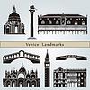 Venedig Sehenswürdigkeiten und Denkmäler | Stock Vektrografik