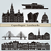 Copenhagen landmarks and monuments | Stock Vector Graphics