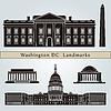 Washington DC Sehenswürdigkeiten und Denkmäler | Stock Vektrografik
