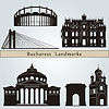 Bucharest landmarks and monuments | Stock Vector Graphics