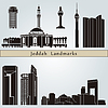 Jeddah Sehenswürdigkeiten und Denkmäler | Stock Vektrografik