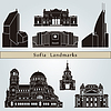 Sofia landmarks and monuments | Stock Vector Graphics
