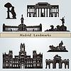 Madrid Sehenswürdigkeiten und Denkmäler | Stock Vektrografik