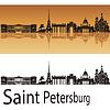 Petersburg skyline w pomarańczowym tle | Stock Vector Graphics