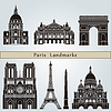Paris landmarks and monuments | Stock Vector Graphics