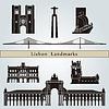 Lissabon Sehenswürdigkeiten und Denkmäler | Stock Vektrografik