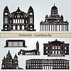Helsinki landmarks and monuments | Stock Vector Graphics