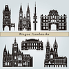 Prague landmarks and monuments | Stock Vector Graphics