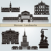 Warsaw landmarks and monuments | Stock Vector Graphics
