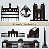 Brussels landmarks and monuments | Stock Vector Graphics