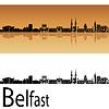 Belfast Skyline in orangefarbenen Hintergrund | Stock Vektrografik