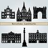Barcelona Sehenswürdigkeiten und Denkmäler | Stock Vektrografik