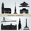Bratislava landmarks and monuments | Stock Vector Graphics