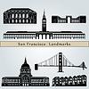 San Francisco Sehenswürdigkeiten und Denkmäler | Stock Vektrografik