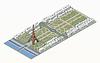 Isometrische Eiffelturm und Champ de Mars