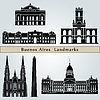 Buenos Aires landmarks and monuments | Stock Vector Graphics