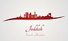 Jeddah Skyline in rot | Stock Vektrografik