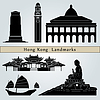 Hong Kong landmarks and monuments | Stock Vector Graphics