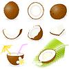Icon Set Coconut | Stock Vector Graphics