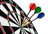 Kolorowe rzutki uderzania cel | Stock Foto
