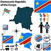 Karte von der Demokratischen Republik Kongo