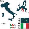 Karte von Italien mit der Europäischen Union