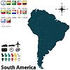 Politische Landkarte von Südamerika