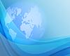blauer Hintergrund mit Weltkugel