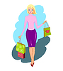 Happy shopping woman | Stock Vector Graphics