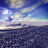 Another world. Fantastic landscape, 3D rendered | Stock Illustration
