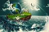 Schiff Erde, abstrakte Umwelt Hintergründe | Stock Foto