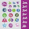 Zbiór ikon z numerami daty rocznic | Stock Vector Graphics