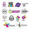 Sammlung von Logos Einkaufs-Rabatte und speichert | Stock Vektrografik
