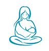 Мать держит ребенка в слинг | Векторный клипарт