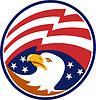 Amerikanischer Weißkopfseeadler mit Flagge