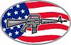 Armalite M-16 Colt AR-15 Sturmgewehr Flagge